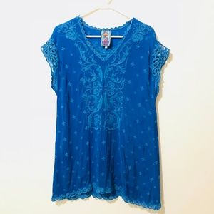 Johnny Was Blue Embroidered Floral Tunic Top 542